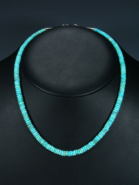 Native American Indian Jewelry Single Strand Snake Cut Turquoise Necklace