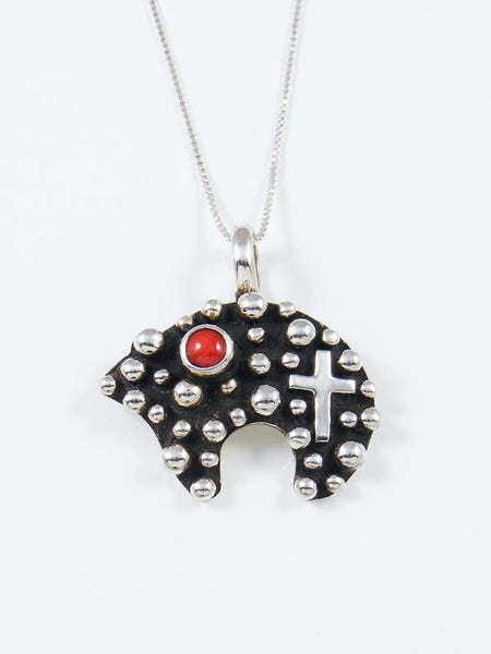 Coral Bear Navajo Handmade Droplet and Cross Pendant
