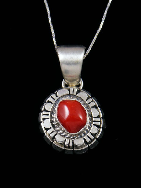 Natural Red Coral Navajo Sterling Silver Pendant
