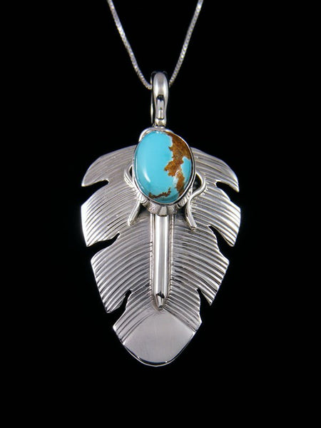 Navajo Crafted Sterling Silver Royston Turquoise Feather Pendant