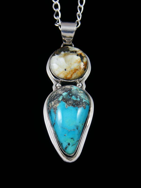 Native American Fossilized Mammoth Tooth and Turquoise Pendant