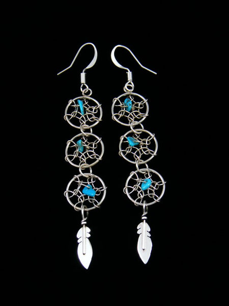 Triple Dreamcatcher Dangle Earrings