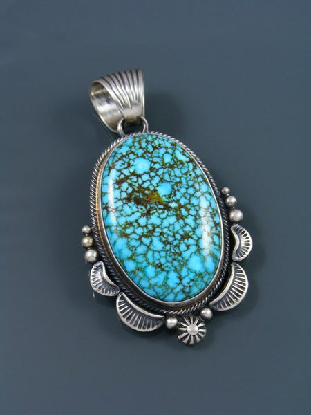 Native American Kingman Red Web Turquoise Pendant