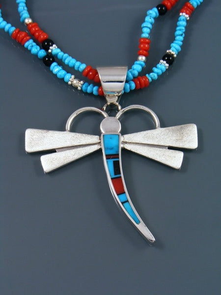Native American Two Strand Turquoise and Coral Beaded Necklace with Inlaid Dragonfly Pendant