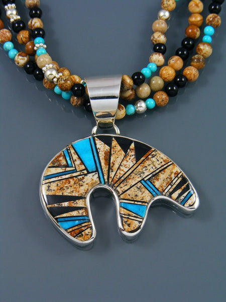 Navajo Jasper Inlay Pendant with Beaded Jasper Necklace