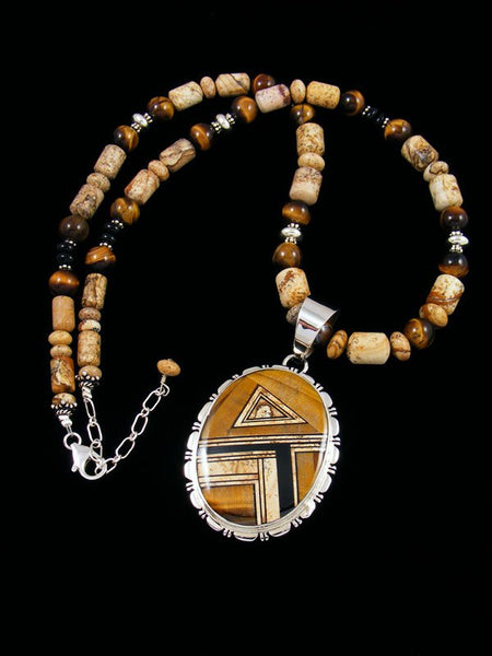 Navajo Jasper and Tiger Eye Inlay Pendant with Beaded Jasper Necklace
