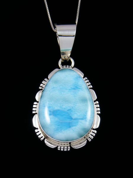 Native American Blue Larimar Sterling Silver Pendant