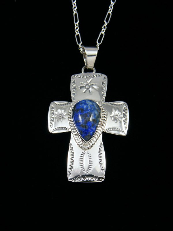 Native American Lapis Sterling Silver Cross Pendant