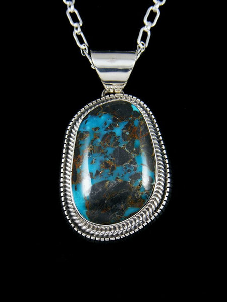 Native American Indian Sterling Silver Sunnyside Turquoise Pendant