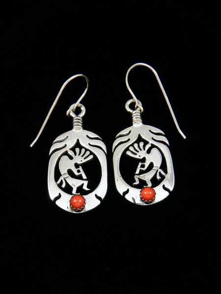 Navajo Sterling Silver Coral Kokopelli Earrings