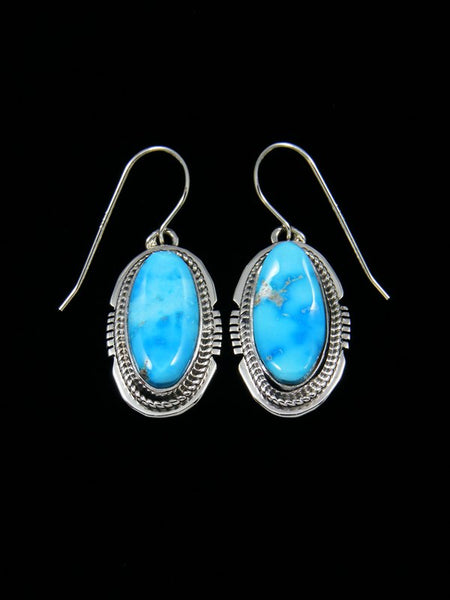 Sterling Silver Kingman Turquoise Dangle Earrings