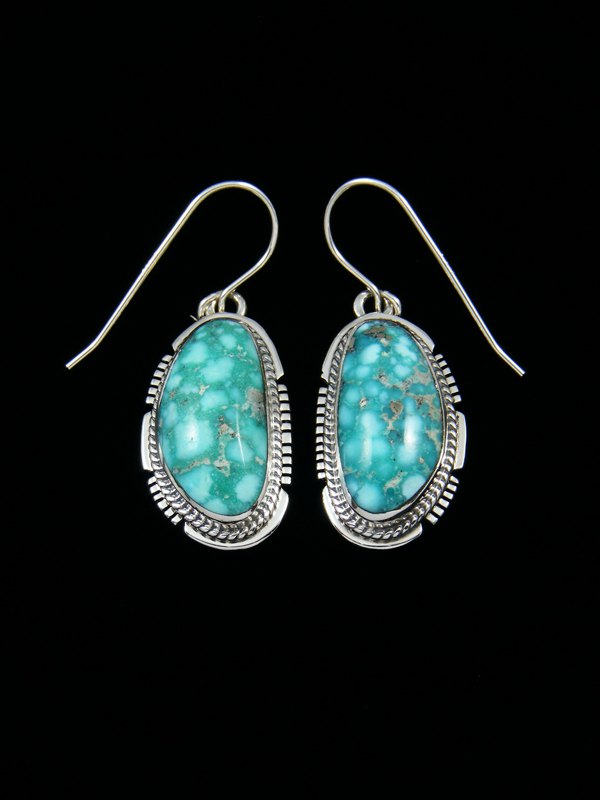White Water Turquoise Sterling Silver Dangle Earrings
