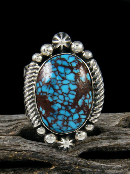 Spiderweb Turquoise Sterling Silver Ring, Size 9