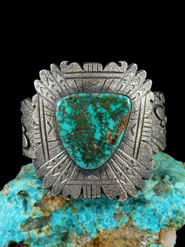Native American Jewelry Sterling Silver Natural Royston Turquoise Bracelet  by Marita Benally at PuebloDirect com