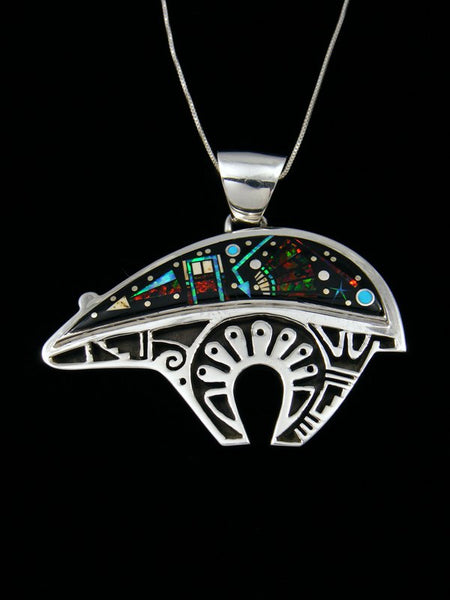 Night Sky Inlay Sterling Silver Bear Pendant