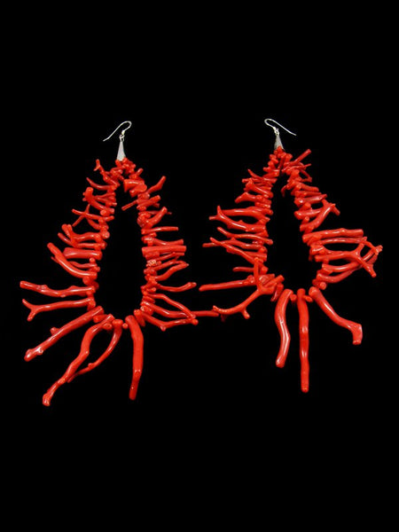 Natural Mediterranean Coral Branch Earrings