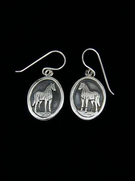 Native American Sterling Silver Horse Dangle Earrings