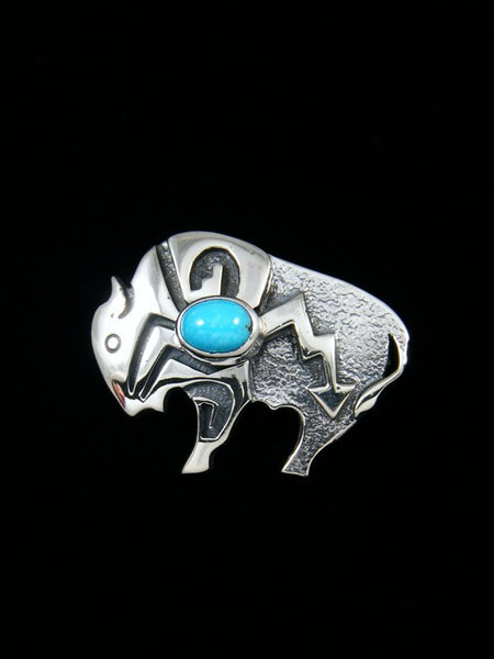 Native American Sterling Turquoise Bison Pin