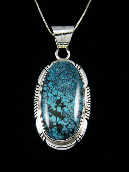 Native American Sterling Silver Hubei Turquoise Pendant