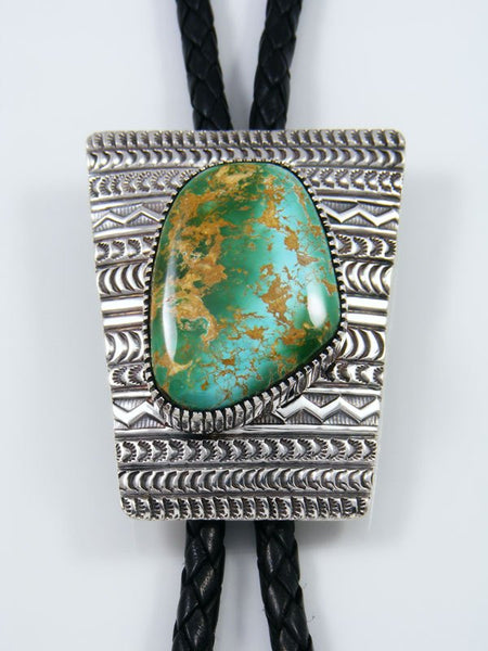 Native American Royston Turquoise Sterling Silver Bolo Tie