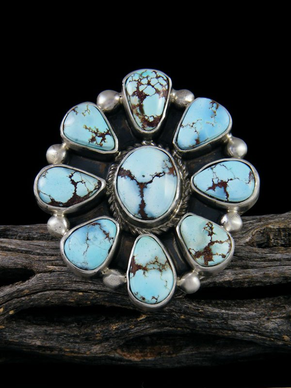 Golden Hill Turquoise Cluster Ring, Size 8