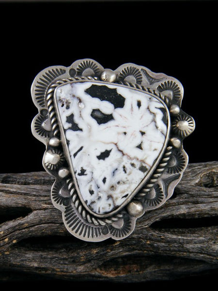 Sterling Silver White Buffalo Ring, Size 7