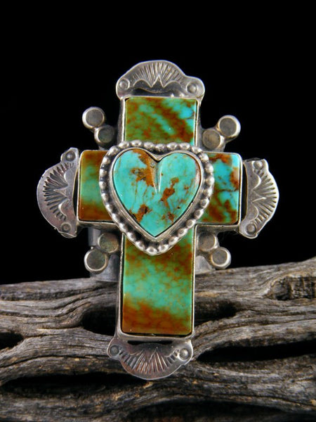 Kingman Turquoise Cross and Heart Ring, Size 6