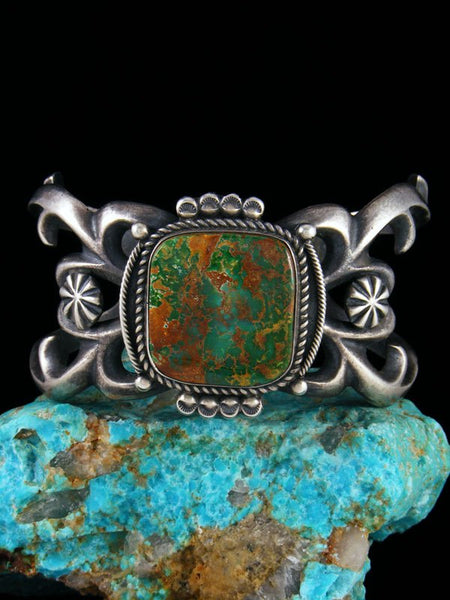 Large Native American Sterling Silver Sandcast Pilot Mountain Turquoise Bracelet