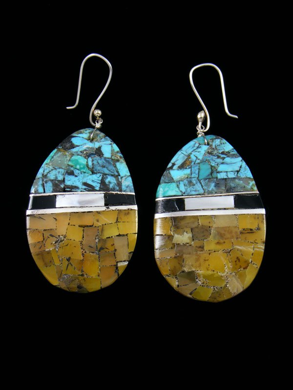 Mosaic Serpentine and Turquoise Santo Domingo Inlay Earrings