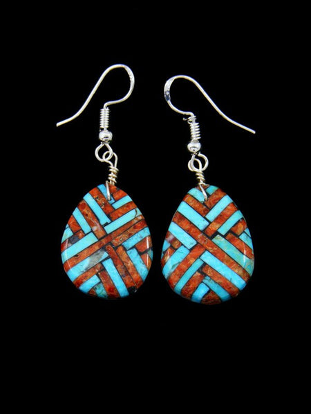 Santo Domingo Turquoise Inlay Dangle Mosaic Earrings