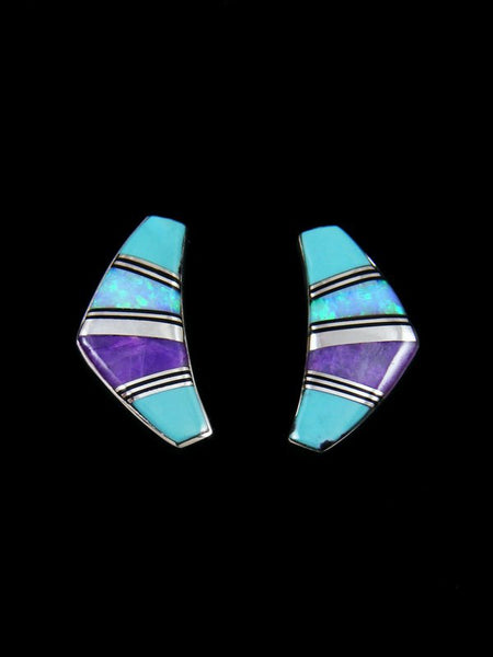 Native American Sterling Silver Turquoise Opal Post Earrings