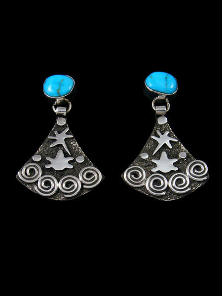Navajo Sterling Silver Turquoise Petroglyph Earrings