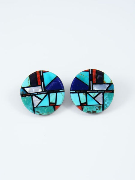 Santo Domingo Inlay Turquoise Mosaic Post Earrings