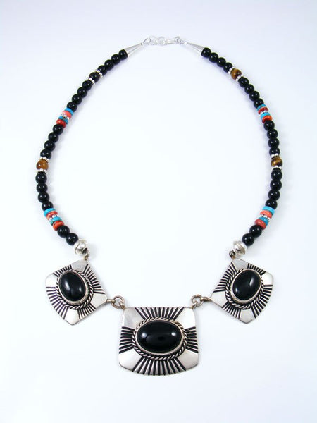 Navajo Sterling Silver Onyx Bead Necklace