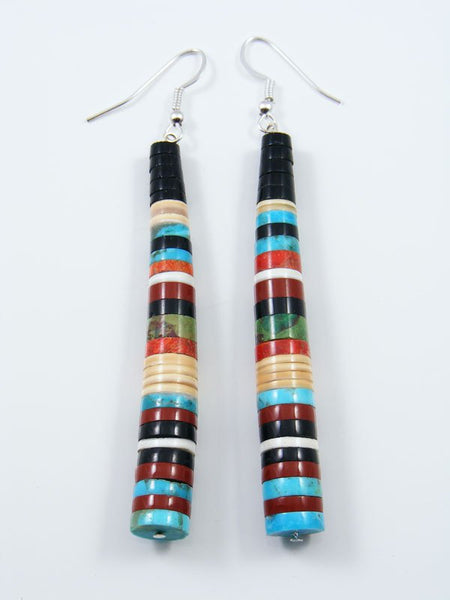 Jet and Turquoise Bead Santo Domingo Dangle Earrings