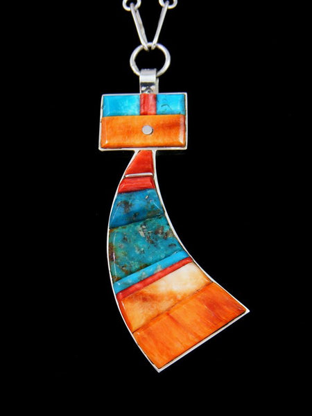 Navajo Spiny Oyster Inlay Yei Figure Necklace
