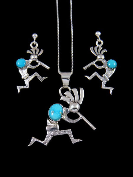 Sterling Silver Navajo Kokopelli Turquoise Pendant and Earring Set
