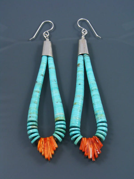 Santo Domingo Turquoise and Spiny Oyster Beaded Dangle Earrings