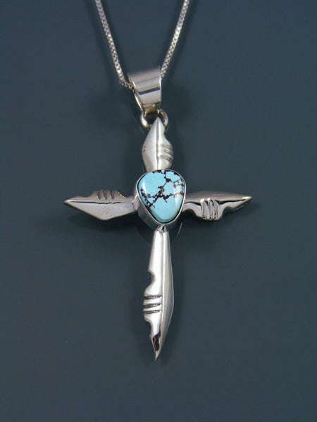 Sterling Silver Golden Hill Turquoise Navajo Cross Pendant
