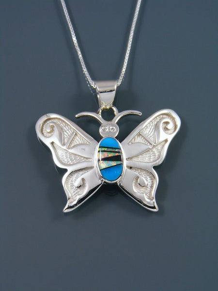 Navajo Indian Sterling Silver Inlay Butterfly Pendant