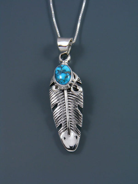 Navajo Crafted Sterling Silver  Turquoise Feather Pendant