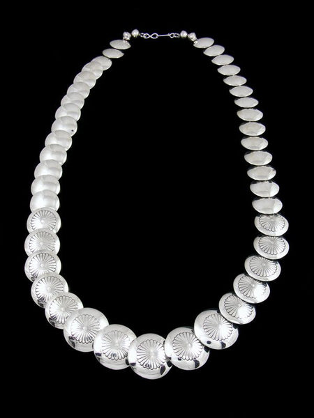 "24"" Native American Sterling Silver Disc Bead Necklace"