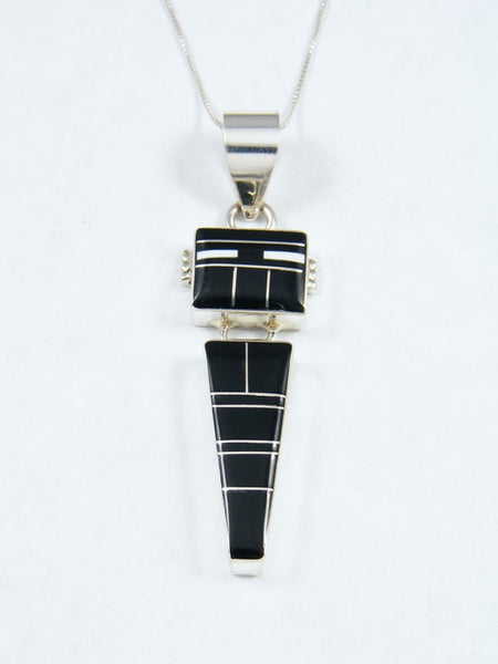 Navajo Sterling Silver Onyx Kachina Inlay Pendant