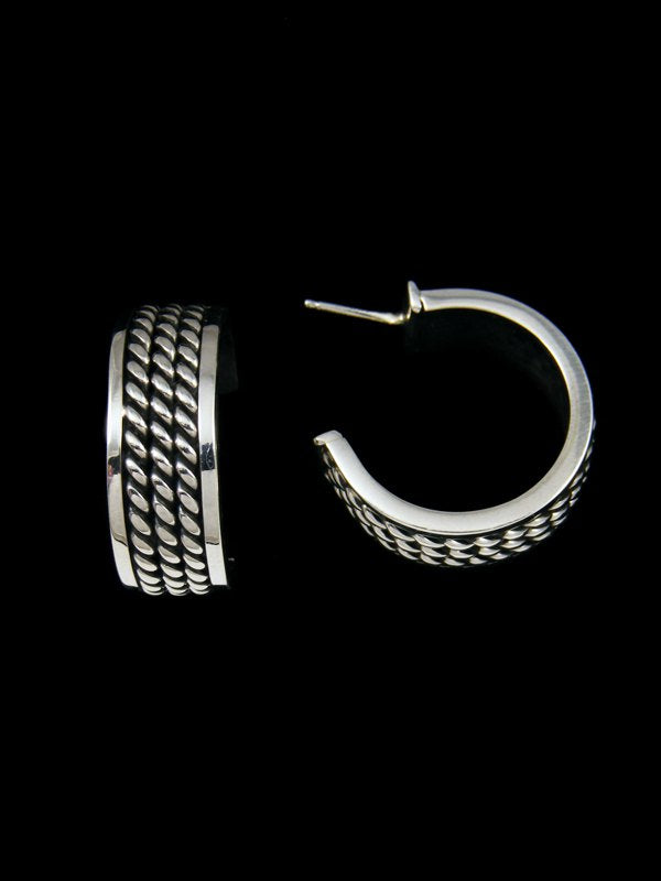 Navajo Sterling Silver Rope Hoop Post Earrings