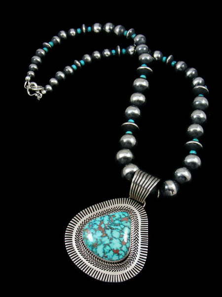 Native American Kingman Turquoise Necklace Earring Set