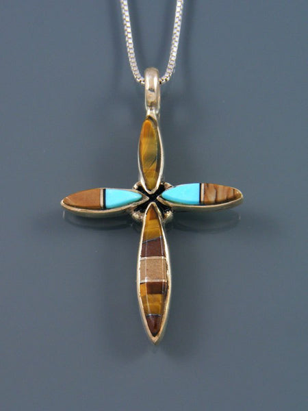 Sterling Silver Navajo Tiger Eye and Jasper Cross Inlay Pendant
