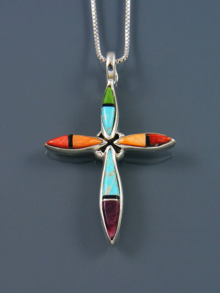 Sterling Silver Navajo Turquoise and Spiny Oyster Cross Inlay Pendant