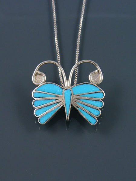 Native American Zuni Inlay Turquoise Butterfly Pin/Pendant