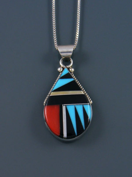 Sterling Silver Zuni Inlay Pendant