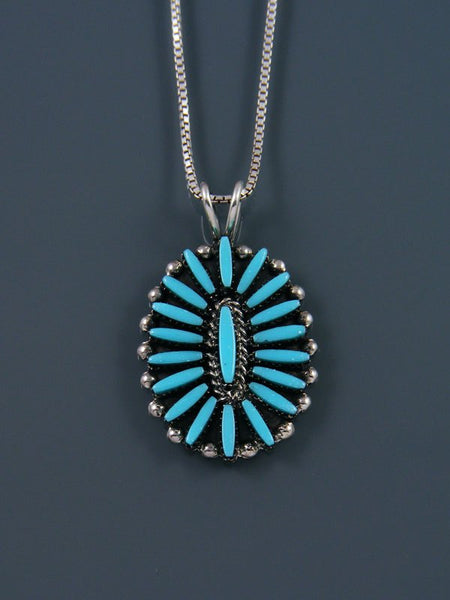 Turquoise Sterling Silver Zuni Pendant